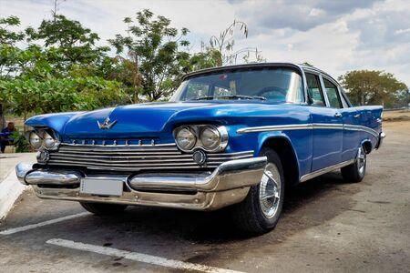 Classic american car on the streets of Santiago de Cuba in Cuba