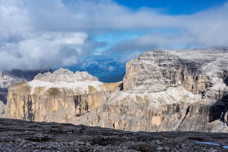 The Sass Pordoi is a relief of the Dolomites, in the mountainous Sella group, Trento province, Italy