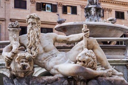 Famous fountain of shame on baroque Piazza Pretoria, Palermo, Sicily, Italy Фото со стока