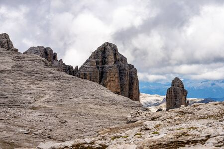 The Sass Pordoi is a relief of the Dolomites, in the mountainous Sella group, Trento province, Italy Stock Photo