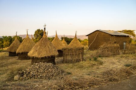 Traditional Ethiopian Hut near the Blue Nile falls, Tis-Isat Falls, meaning great smoke in Amharic in Amara region of Ethiopia, Eastern Africa