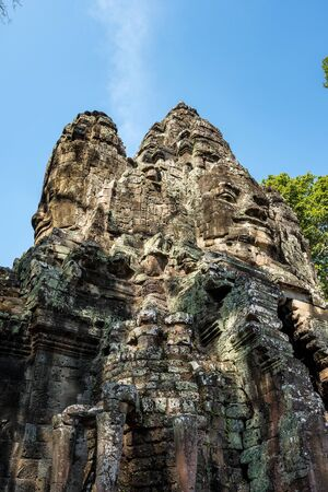 Victory gate of Angkor Thom at Siem Reap, Cambodia in Asia