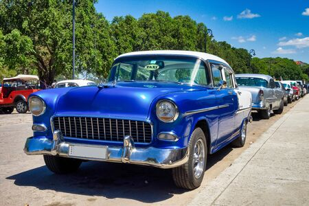 Classic american car on the streets of Havana in the tropical island Cuba.