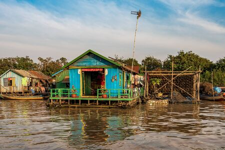 Floating village with floating houses on the Tonle Sap Lake, Koh Rong island, Cambodia, Asia Banco de Imagens