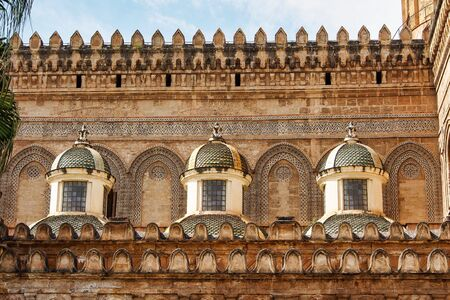 The Cathedral of Palermo is an architectural complex in Palermo, Sicily, Italy. The church was erected in 1185 by Walter Ophamil, the Anglo-Norman archbishop of Palermo and King William IIs minister 스톡 콘텐츠