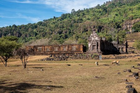 Vat Phou - Wat Phu temple. The ruined Khmer temple complex in southern Laos. Banco de Imagens