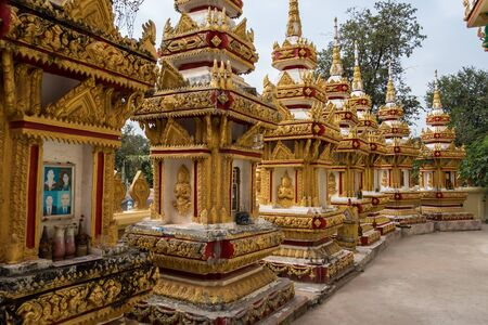 Wat Pha That Luang Temple - Great golden stupa or pagoda. The most important national monument and a national symbol in Vientiane, Laos