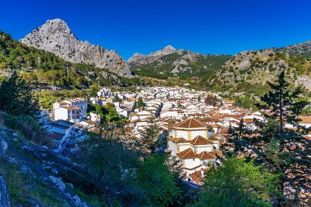 view of Grazalema, village located on the route of the white villages in the province of Cadiz, Andalusia, Spain