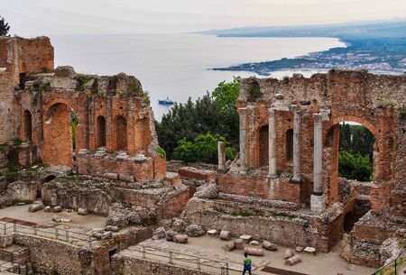 Ruins of the Greek Roman Theater in Taormina, Sicily in Italy