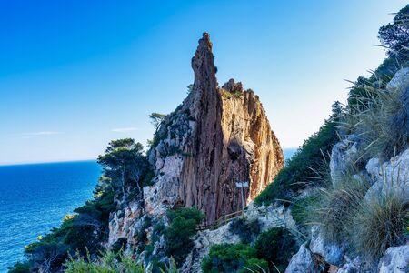 Beautiful rocky coastline in Moraira, Costa Blanca, Spain in Western Europe Reklamní fotografie