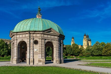 Hofgarten Park with Dianatempel in Munich. The Diana Pavilion and the grounds of the Hofgarten, adjacent to the Munich Residenz and Odeonsplatz. Archivio Fotografico