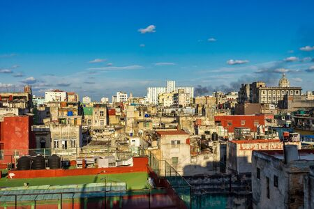 View from a rooftop terrace over the Center of Havana in the tropical island Cuba.