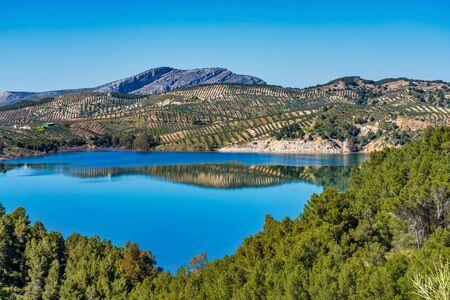 Beautiful view of the lake Embalse del Guadalhorce, Ardales Reservoir in province Malaga, Andalusia, Spain Stock Photo