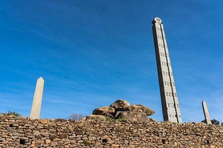The Northern Stelae Park of Aksum, famous obelisks in Axum, Ethiopia 写真素材