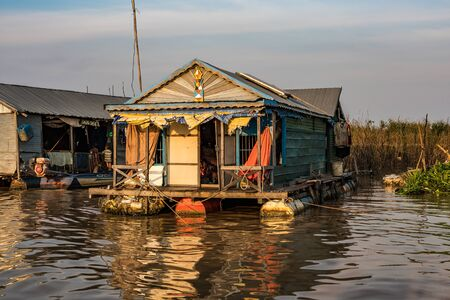 Floating village with floating houses on the Tonle Sap Lake, Koh Rong island, Cambodia, Asia 写真素材