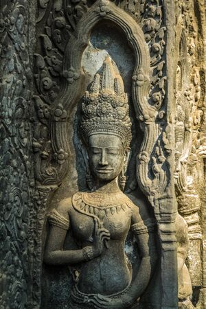 The ancient temple of Ta Prohm , Angkor , Cambodia 版權商用圖片