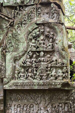 Ruins of ancient Beng Mealea Temple over jungle, Cambodia. 版權商用圖片