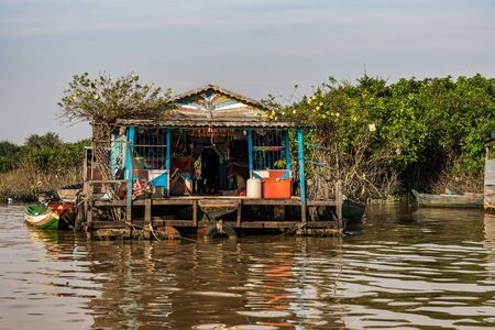 Floating village, Cambodia, Tonle Sap, Koh Rong island. 写真素材