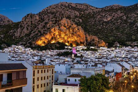 Ermita de San Antonio in Ubrique, Cadiz, Andalusia, Spain at night 스톡 콘텐츠