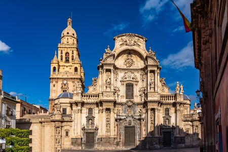 Cathedral Church of Saint Mary, La Santa Iglesia Catedral de Santa Maria in Murcia, Spain. A mixture of gothic and baroque style. Stock fotó