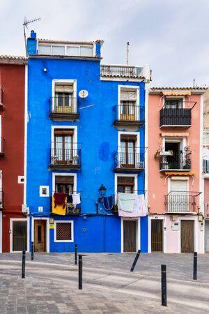 Colorful facades in Villajoyosa waterfront district, Costa Blanca, Spain 스톡 콘텐츠 - 131956828