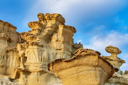 View of the Erosions of Bolnuevo, Las Gredas, Mazarron. Murcia, Spain 스톡 콘텐츠 - 131956829