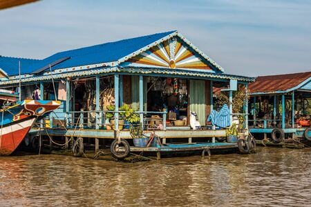 Floating village with floating houses on the Tonle Sap Lake, Koh Rong island, Cambodia, Asia Фото со стока