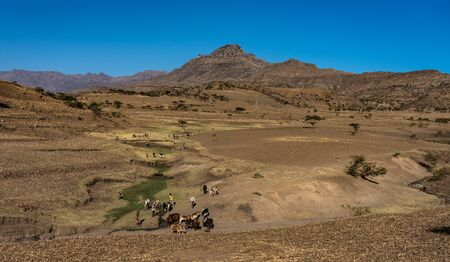 landscape in the highlands of Lalibela, Ethiopia