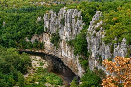 River in the beautiful Ardeche gorge near Casteljau in france.