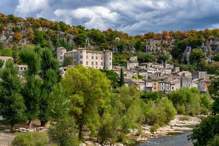 Medieval Village of Vogue in Ardeche, Rhone-Alpes, France