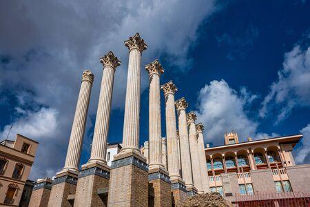 Remaining columns of the Roman temple, templo romano of Cordoba, Andalusia, Spain