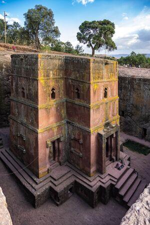 Lalibela, Ethiopia. Famous Rock-Hewn Church of Saint George - Bete Giyorgis Stock Photo