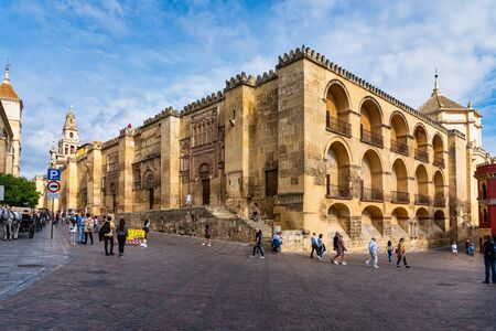 Cordoba, Spain - October 31, 2019: View of Mosque-Cathedral of Cordoba, Mezquita-Catedral de Cordoba, also known as the Great Mosque or Mezquita, monuments of Moorish architecture.