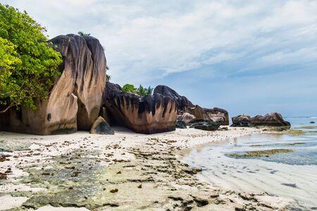 Anse Source d Argent paradise beach at La Digue Island, Seyshelles