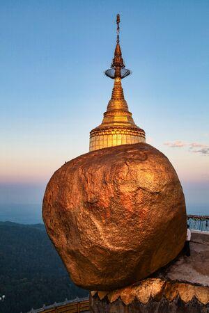 Golden rock or Kyaiktiyo pagoda in Myanmar, former Burma