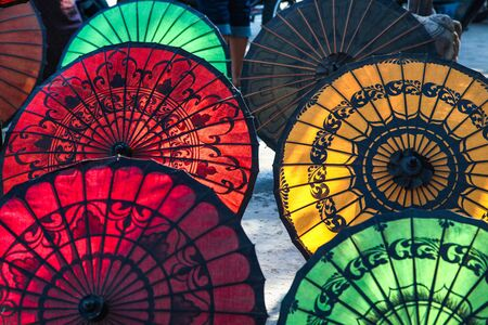 Colourful Burmese Parasols, handmade colorful umbrellas in Myanmar former Burma