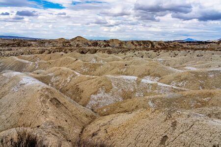 The Badlands of Abanilla and Mahoya near Murcia in Spain. An area where a lunar landscape has been formed by the erosive force of water over the millennia. 스톡 콘텐츠