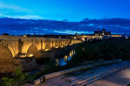 Mosque-Cathedral and the Roman Bridge in Cordoba, Andalusia, Spain at night