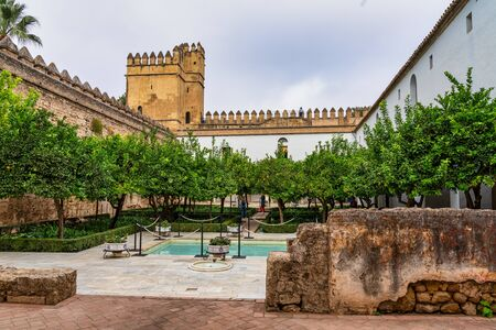 The gardens of Alcazar of the Christian Monarchs in Cordoba, Andalusia, Spain