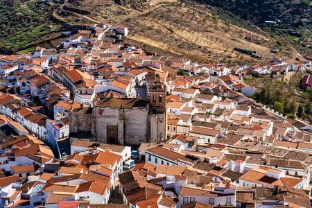 Little village of Feria with church of San Bartolome. Extremadura. Spain. Stock Photo