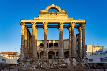 The Roman temple of Diana in Merida, province of Badajoz, Extremadura, Spain