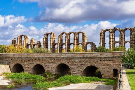 The Acueducto de los Milagros, Miraculous Aqueduct in Merida, Extremadura, Spain Stock Photo