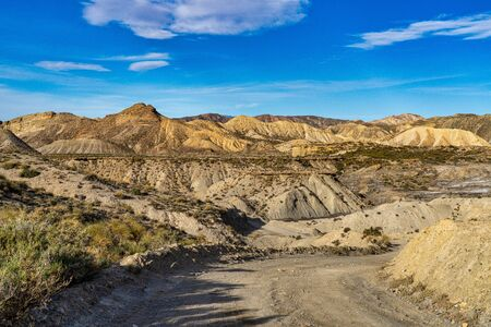 Tabernas desert, Desierto de Tabernas. Europe only desert. Almeria, andalusia region, Spain. Protected wilderness area and location for spaghetti western movies.