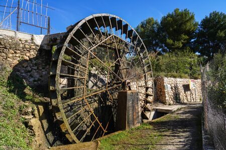 Ancient arabic mill, water noria at Abaran village in Murcia region, Spain Europe. Ruta de las Norias, Noria de las Candelon