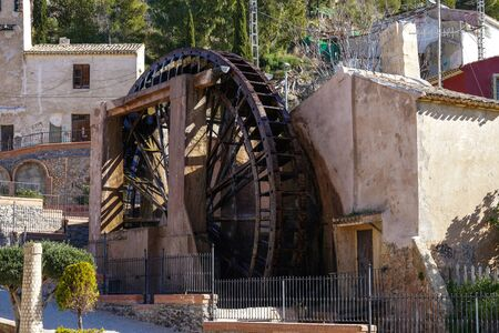 Ancient arabic mill, water noria at Abaran village in Murcia region, Spain Europe. Ruta de las Norias, Noria Grande