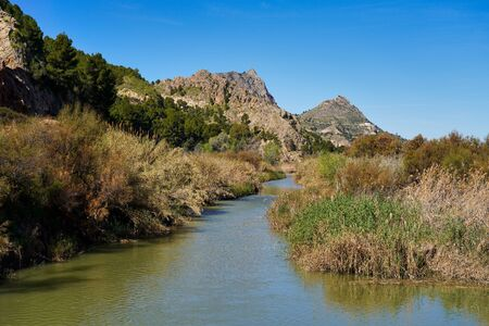The river rio seguro in the little village of Abaran in valley ricote, in the Murcia region, Spain