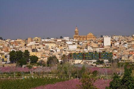 Cieza with its church, Parroquia Nuestra Senora de La Asuncion in the Murcia region in Spain Stockfoto