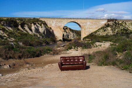 Bridge with a couch near Ascoy in the Murcia region of Spain, Spain Stockfoto