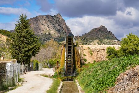Ancient arabic mill, water noria at Abaran village in Murcia region Spain Europe
