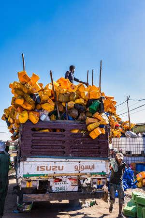 Addis Ababa, Ethiopia - Feb 15, 2020: Addis Mercato in Addis Abeba, Ethiopia, the largest market in Africa.